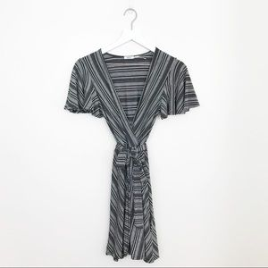 Kimchi Blue Striped Faux Wrap Dress